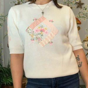 Vintage short sleeved embroidered grandma sweater